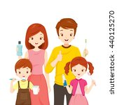 happy family with teeth... | Shutterstock .eps vector #440125270