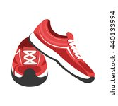 red and white gym sneakers on... | Shutterstock .eps vector #440133994