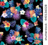 hawaiian seamless pattern with... | Shutterstock .eps vector #440136028