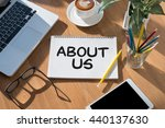 about us open book on table and ... | Shutterstock . vector #440137630