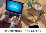 client testimonials man hand on ...   Shutterstock . vector #440137648