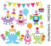 birthday monster vector... | Shutterstock .eps vector #440144653