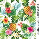 seamless tropical pattern with... | Shutterstock .eps vector #440154454