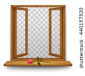 wooden window with a red rose... | Shutterstock .eps vector #440157520