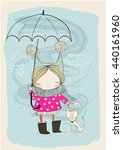 cute girl with dog and umbrella | Shutterstock .eps vector #440161960
