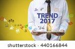 businessman holding a tablet...   Shutterstock . vector #440166844