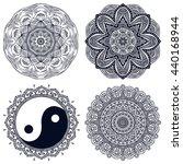 flower mandalas. vintage... | Shutterstock . vector #440168944