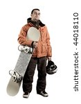 the guy with snowboard in the... | Shutterstock . vector #44018110