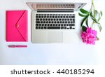laptop  peony and pink working... | Shutterstock . vector #440185294