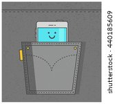 smart phone in pocket  line art ...   Shutterstock .eps vector #440185609
