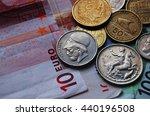 Greek Drachma Coins On Euro...