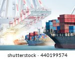 container cargo ship entering... | Shutterstock . vector #440199574