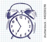 alarm clock. doodle sketch on... | Shutterstock .eps vector #440200198