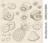 set of chalk sketch hand drawn  ... | Shutterstock .eps vector #440224384