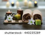 spa composition with candles on ... | Shutterstock . vector #440235289