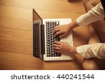 woman working with typing on...   Shutterstock . vector #440241544