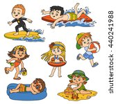 set of cute children on summer... | Shutterstock .eps vector #440241988