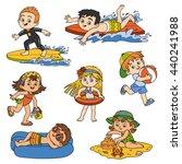 set of cute children on summer... | Shutterstock .eps vector #440241988