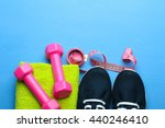 sports shoes with towel and... | Shutterstock . vector #440246410
