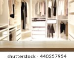 wood table top in dressing room ... | Shutterstock . vector #440257954
