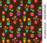 seamless pattern with flowers... | Shutterstock . vector #440283760
