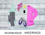 workout kit on the wooden floor | Shutterstock . vector #440290420