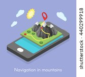 Isometric 3d concept illustration of mobile map and navigation in mountains.