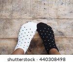 selfie feet wearing black and... | Shutterstock . vector #440308498
