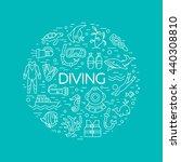 diving icons set. underwater... | Shutterstock .eps vector #440308810