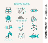 diving line icons set.... | Shutterstock .eps vector #440308816