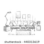 modern interior room sketch. | Shutterstock .eps vector #440313619