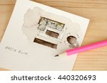 Small photo of Sharp pink pencil on media room watercolor interior design sketch tryout with living room furniture element like sofa, tables, chairs in plan view