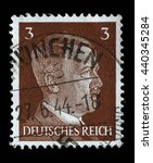 Small photo of ZAGREB, CROATIA - JUNE 22: A stamp printed in Germany shows image of Adolf Hitler, series, 1941, on June 22, 2014, Zagreb, Croatia