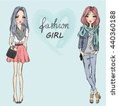 two beautiful stylish cute... | Shutterstock .eps vector #440360188
