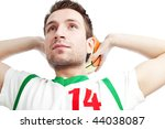 Close up of young basketball player. Isolated on white. - stock photo