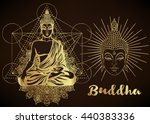 buddha vector illustration over ... | Shutterstock .eps vector #440383336