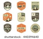 Set of Retro style Ski Club, Patrol Labels. Classic Mountain elements. Winter or summer camping explorer badges. Outdoor adventure logo design. Travel hipster insignia. Adventure patches. Vector | Shutterstock vector #440394640