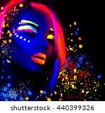 fashion model woman in neon... | Shutterstock . vector #440399326