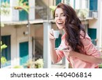 woman with cup of coffee to go... | Shutterstock . vector #440406814