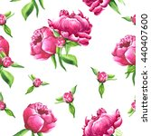 hand drawn watercolor peonies... | Shutterstock . vector #440407600
