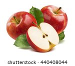 3 red apples half isolated on... | Shutterstock . vector #440408044
