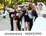 groom and friends point fingers ... | Shutterstock . vector #440431990