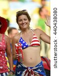 Small photo of RIO, BRAZIL - June 28, 2014: amebic bikini fan during the FIFA 2014 World Cup. Colombia is facing Uruguay in the Round of 16 at Maracana Stadium