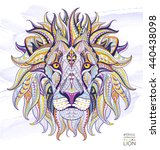 patterned head of the lion on... | Shutterstock .eps vector #440438098