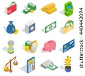 money icons set  isometric 3d...