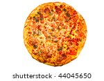 fresh pizza isolated on the white background - stock photo