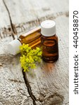 Small photo of Two small bottles of natural cosmetic (essential) aroma oil