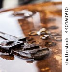 Small photo of Rusty alligator wrench and nuts in water