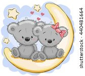two cute bears is sitting on... | Shutterstock . vector #440481664