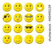yellow smile emotion icons set. ... | Shutterstock . vector #440490139
